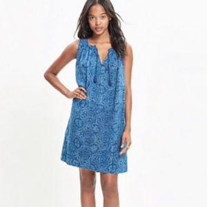 Madewell Blue Indigo Cotton Sleeveless Shift Dress